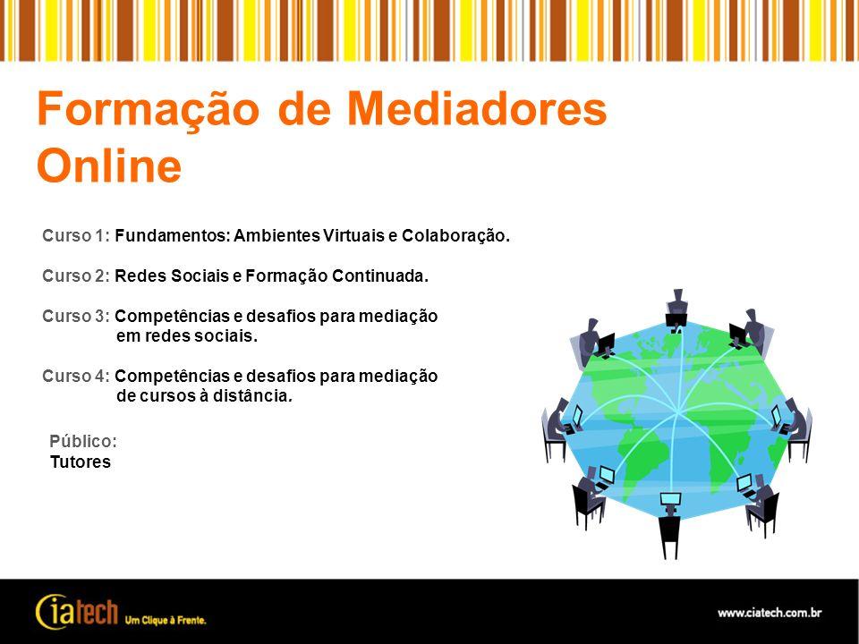 Formação de Mediadores Online Público: Tutores Curso 1: Fundamentos: Ambientes Virtuais e Colaboração. Curso 2: Redes Sociais e Formação Continuada. C