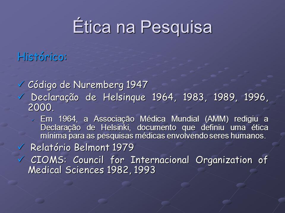 Ética na Pesquisa Histórico: Código de Nuremberg 1947 Código de Nuremberg 1947 Declaração de Helsinque 1964, 1983, 1989, 1996, 2000. Declaração de Hel
