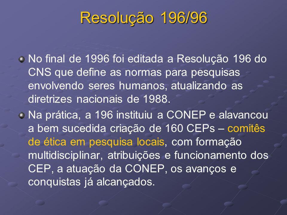 Resolução 196/96 No final de 1996 foi editada a Resolução 196 do CNS que define as normas para pesquisas envolvendo seres humanos, atualizando as dire