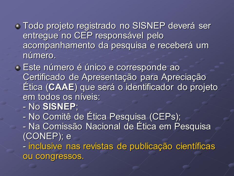 Todo projeto registrado no SISNEP deverá ser entregue no CEP responsável pelo acompanhamento da pesquisa e receberá um número. Este número é único e c