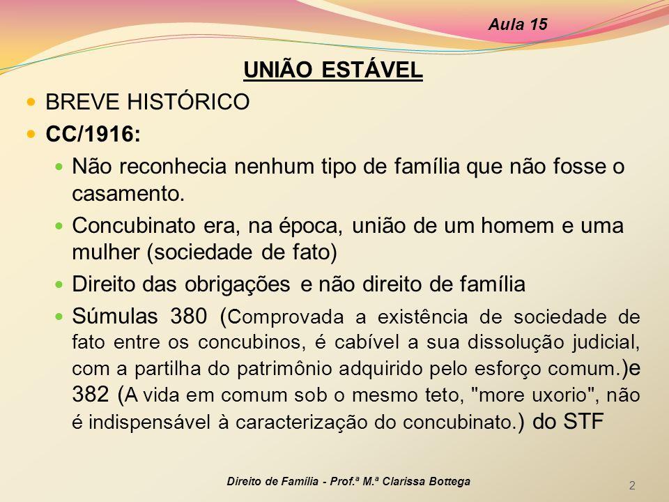 UNIÃO ESTÁVEL BREVE HISTÓRICO CC/1916: Não reconhecia nenhum tipo de família que não fosse o casamento. Concubinato era, na época, união de um homem e