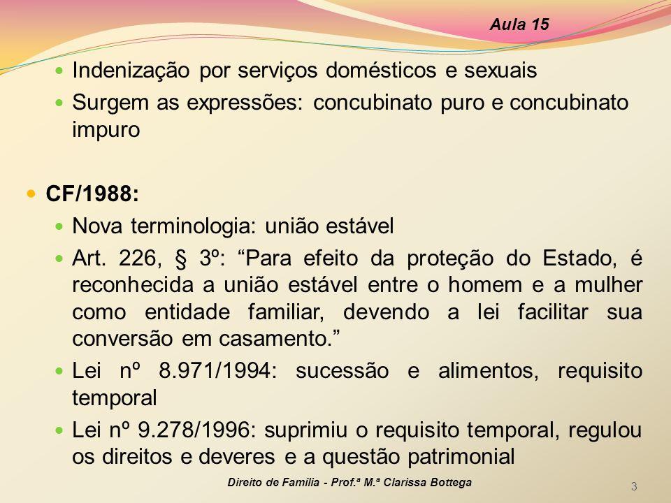 Indenização por serviços domésticos e sexuais Surgem as expressões: concubinato puro e concubinato impuro CF/1988: Nova terminologia: união estável Ar