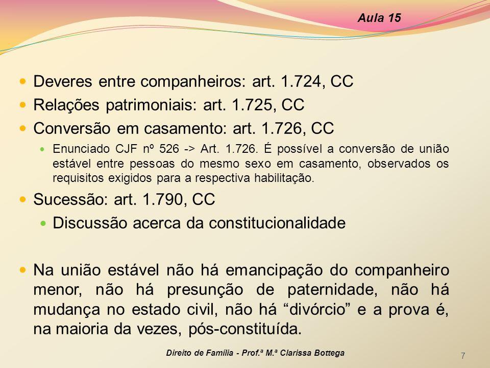 Deveres entre companheiros: art. 1.724, CC Relações patrimoniais: art. 1.725, CC Conversão em casamento: art. 1.726, CC Enunciado CJF nº 526 -> Art. 1