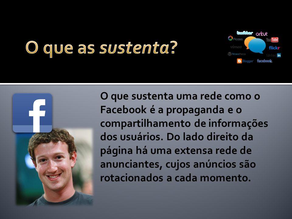 O que sustenta uma rede como o Facebook é a propaganda e o compartilhamento de informações dos usuários.