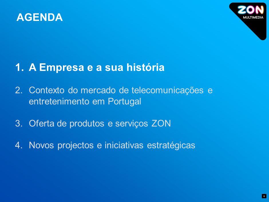 AGENDA 1 1.A Empresa e a sua história 2.Contexto do mercado de telecomunicações e entretenimento em Portugal 3.Oferta de produtos e serviços ZON 4.Novos projectos e iniciativas estratégicas