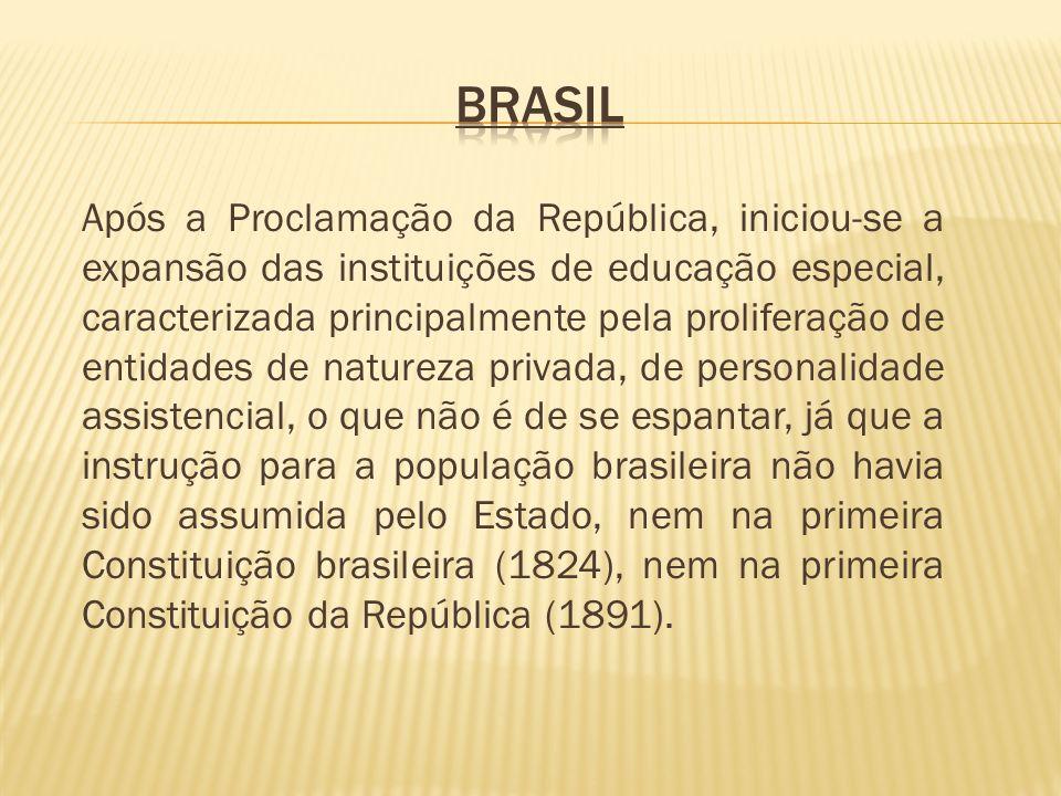 Após a Proclamação da República, iniciou-se a expansão das instituições de educação especial, caracterizada principalmente pela proliferação de entida