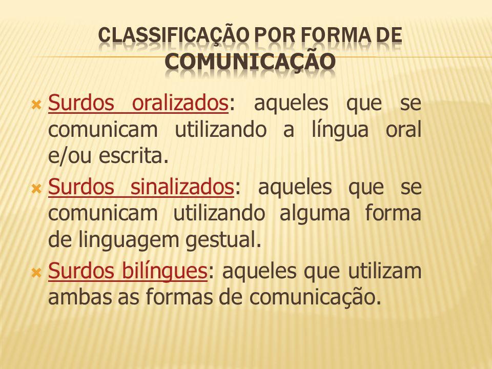 Surdos oralizados: aqueles que se comunicam utilizando a língua oral e/ou escrita. Surdos oralizados Surdos sinalizados: aqueles que se comunicam util