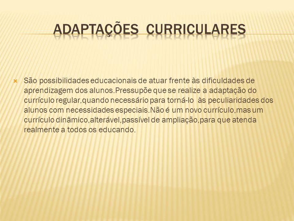 São possibilidades educacionais de atuar frente às dificuldades de aprendizagem dos alunos.Pressupõe que se realize a adaptação do currículo regular,q