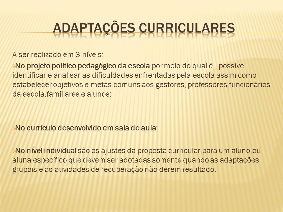 A ser realizado em 3 níveis: No projeto político pedagógico da escola,por meio do qual é possível identificar e analisar as dificuldades enfrentadas p