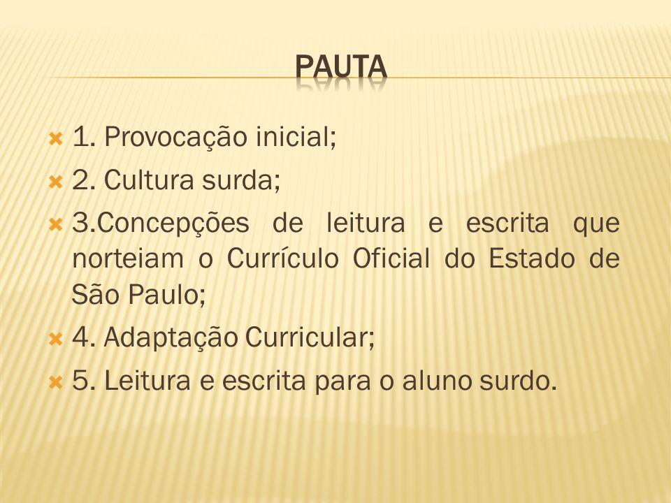 1. Provocação inicial; 2. Cultura surda; 3.Concepções de leitura e escrita que norteiam o Currículo Oficial do Estado de São Paulo; 4. Adaptação Curri