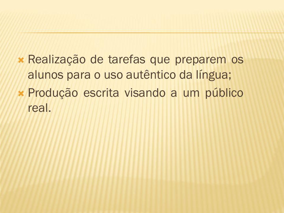 Realização de tarefas que preparem os alunos para o uso autêntico da língua; Produção escrita visando a um público real.