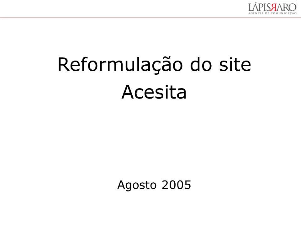 Reformulação do site Acesita Agosto 2005