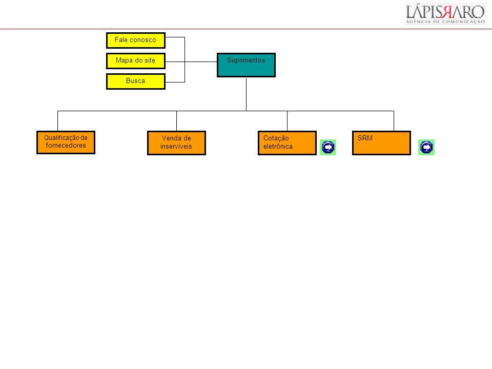 Suprimentos Venda de inservíveis Cotação eletrônica SRM Fale conosco Mapa do site Busca Qualificação de fornecedores