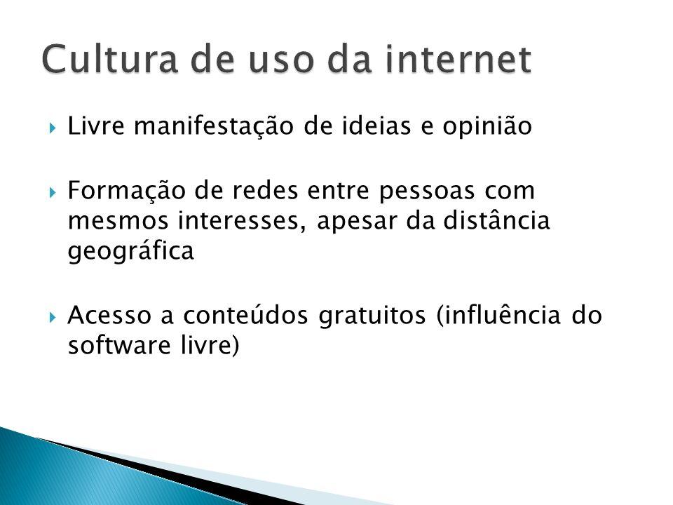 Livre manifestação de ideias e opinião Formação de redes entre pessoas com mesmos interesses, apesar da distância geográfica Acesso a conteúdos gratui