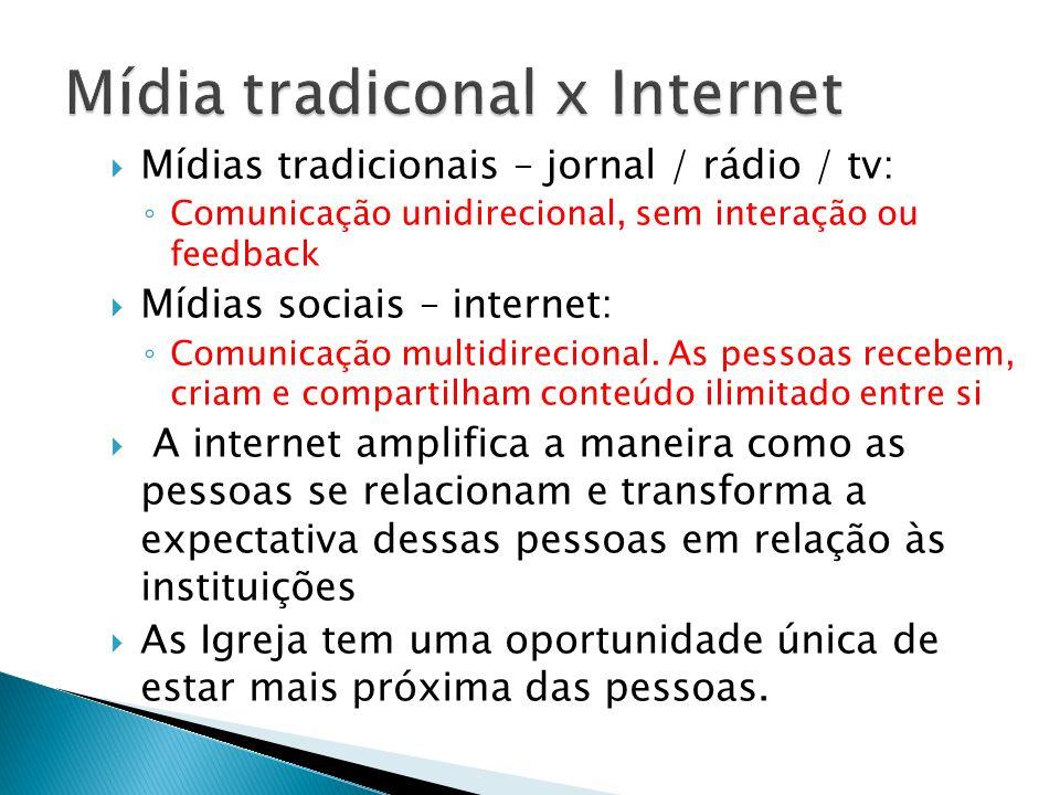 Mídias tradicionais – jornal / rádio / tv: Comunicação unidirecional, sem interação ou feedback Mídias sociais – internet: Comunicação multidirecional
