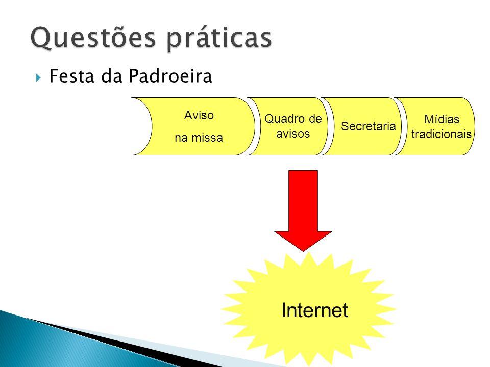 Festa da Padroeira Aviso na missa Quadro de avisos Secretaria Internet Mídias tradicionais
