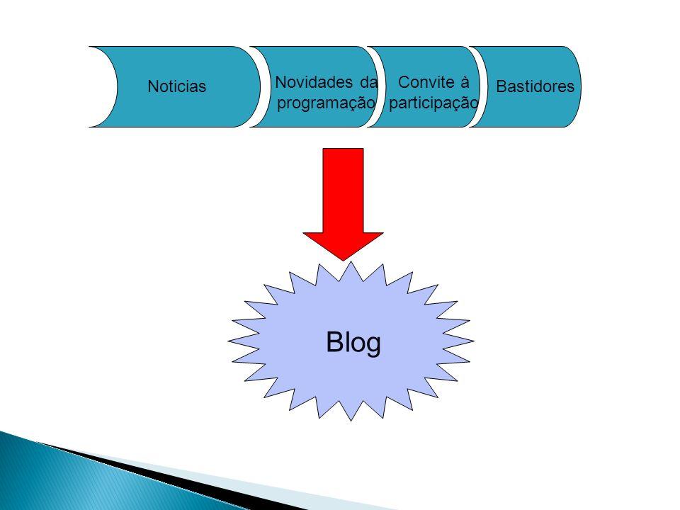 Noticias Convite à participação Blog Bastidores Novidades da programação