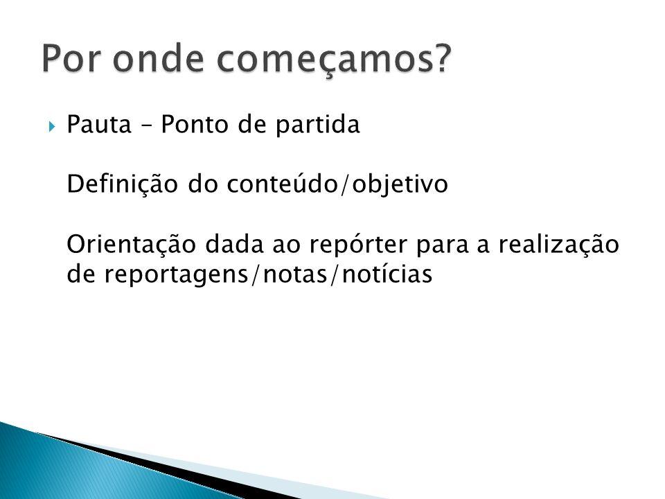 Pauta – Ponto de partida Definição do conteúdo/objetivo Orientação dada ao repórter para a realização de reportagens/notas/notícias