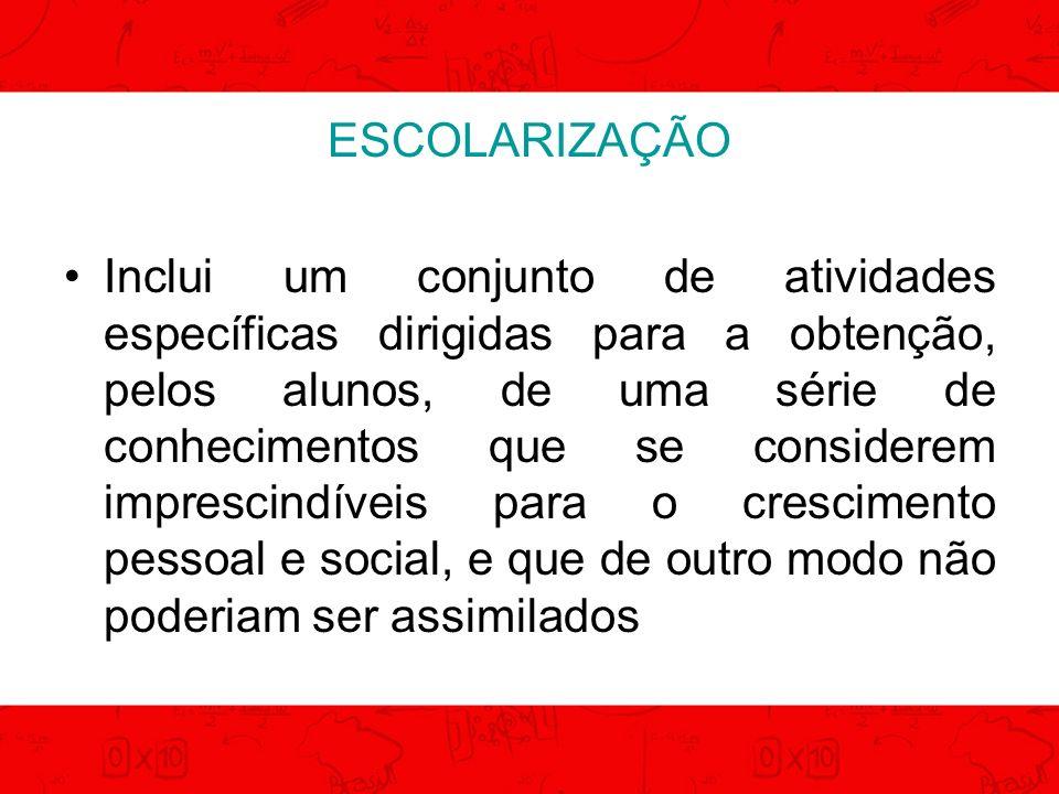 ESCOLARIZAÇÃO DESENVOLVIMENTO SENSO COMUM CONHECIMENTO CIENTÍFICO INSERÇÃO CULTURAL