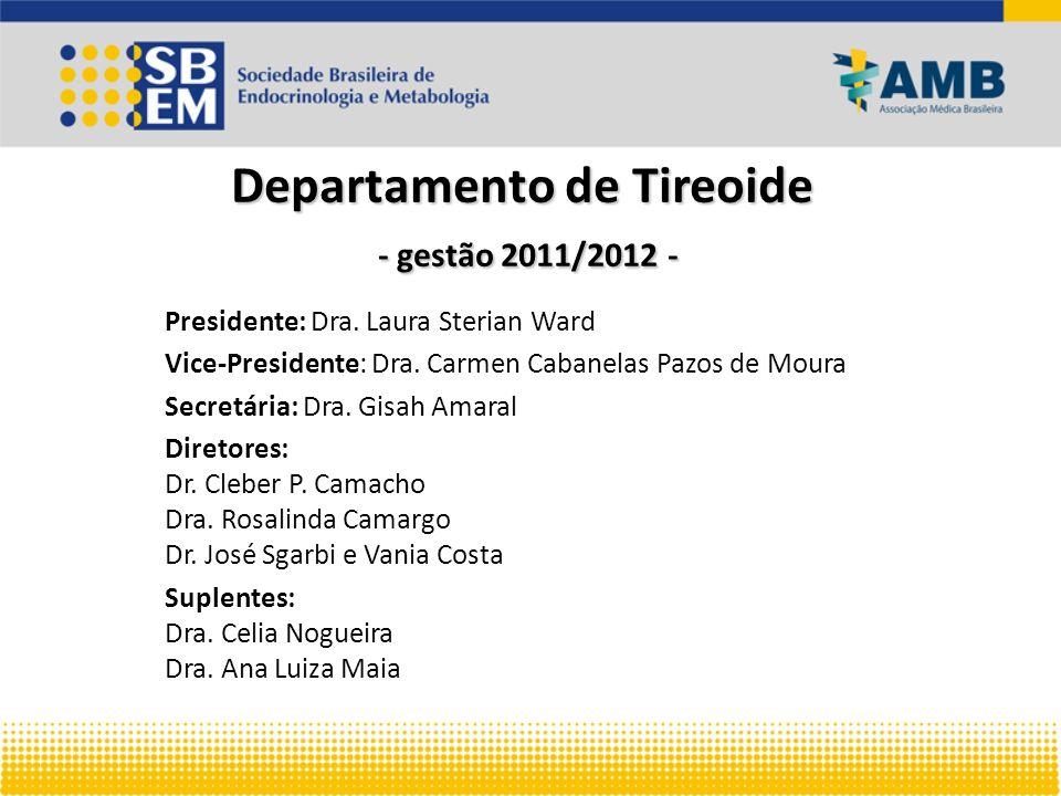Departamento de Tireoide - gestão 2011/2012 - Presidente: Dra. Laura Sterian Ward Vice-Presidente: Dra. Carmen Cabanelas Pazos de Moura Secretária: Dr