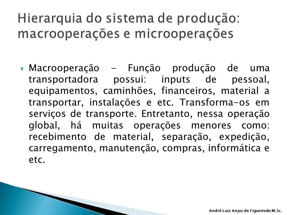 André Luiz Anjos de Figueiredo M.Sc. Macrooperação - Função produção de uma transportadora possui: inputs de pessoal, equipamentos, caminhões, finance