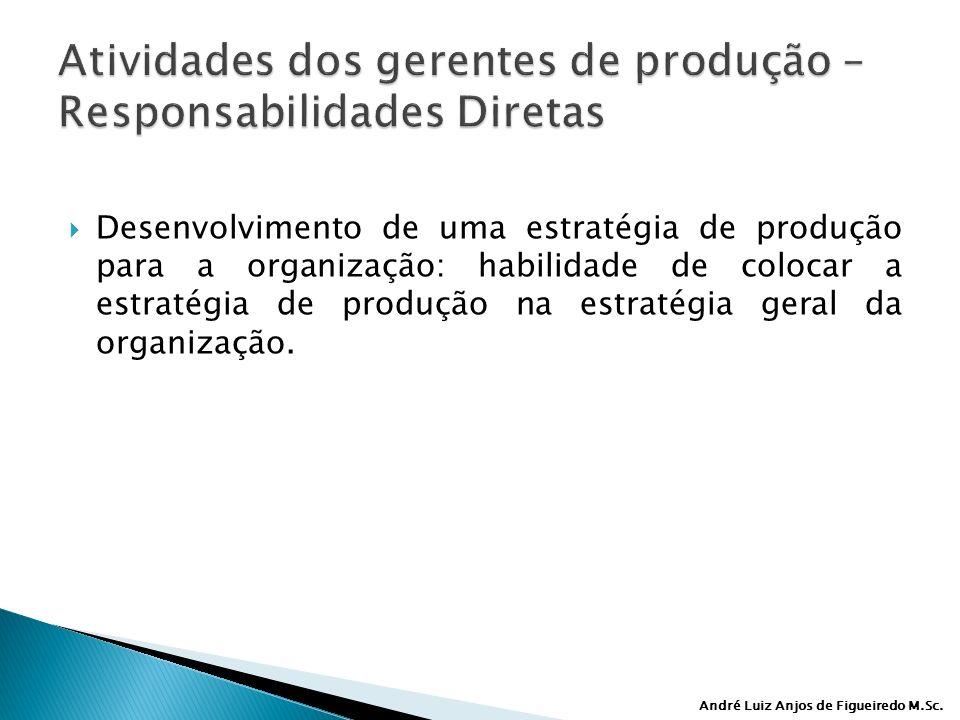 André Luiz Anjos de Figueiredo M.Sc. Desenvolvimento de uma estratégia de produção para a organização: habilidade de colocar a estratégia de produção