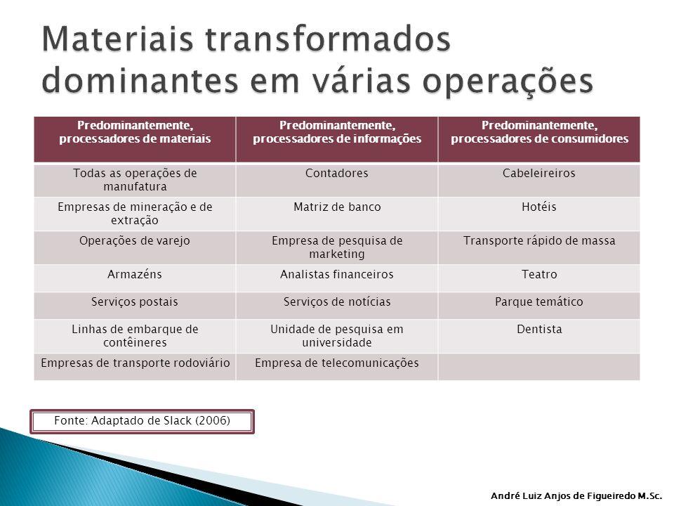André Luiz Anjos de Figueiredo M.Sc. Predominantemente, processadores de materiais Predominantemente, processadores de informações Predominantemente,
