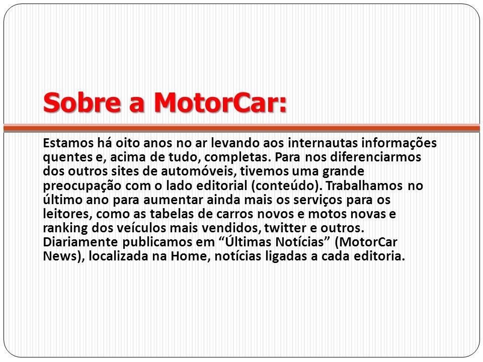 Sobre a MotorCar: Estamos há oito anos no ar levando aos internautas informações quentes e, acima de tudo, completas. Para nos diferenciarmos dos outr