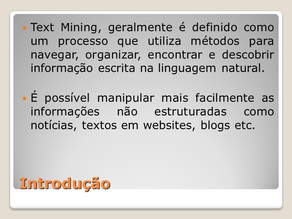Introdução Text Mining, geralmente é definido como um processo que utiliza métodos para navegar, organizar, encontrar e descobrir informação escrita n