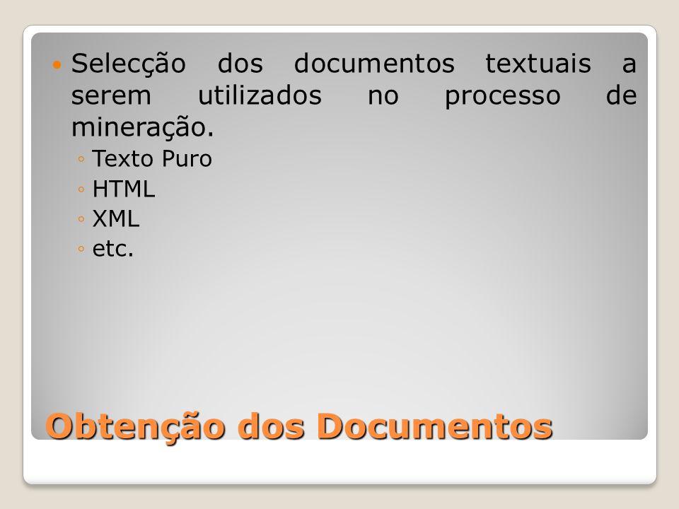 Obtenção dos Documentos Selecção dos documentos textuais a serem utilizados no processo de mineração. Texto Puro HTML XML etc.