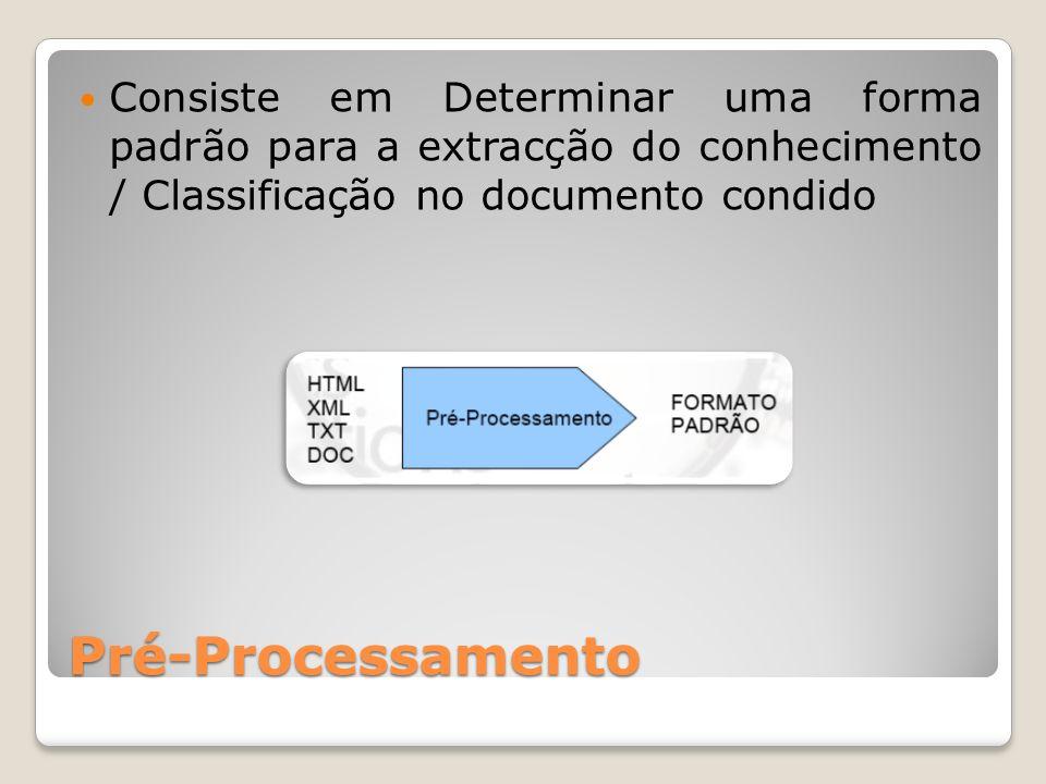 Pré-Processamento Consiste em Determinar uma forma padrão para a extracção do conhecimento / Classificação no documento condido