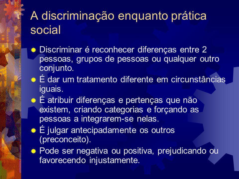 A discriminação Embora com pretextos raciais ela foi sempre cultural Implica atribuir qualidades e defeitos aos indivíduos a partir das características supostas dos grupos reais ou imaginados a que eles supostamente pertencem