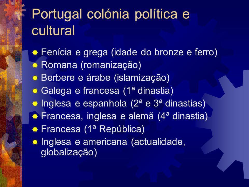Miscigenação – o português é um mestiço Iberos + celtas = celtiberos Celtiberos + orientais (fenícios, gregos cartagineses) Celtiberos + romanos = Luso-romanos Luso-romanos + germânicos (vândalos, suevos) + outros (alanos e godos) e judeus Luso-romanos germanizados + berberes Cruzados e monges europeus (França e Inglaterra) Assimilação dos berberes Vinda de negros após as navegações; assimilação dos judeus (Pombal) e negros Invasões francesas Luso-tropicalismo (Brasil, África, Índia)