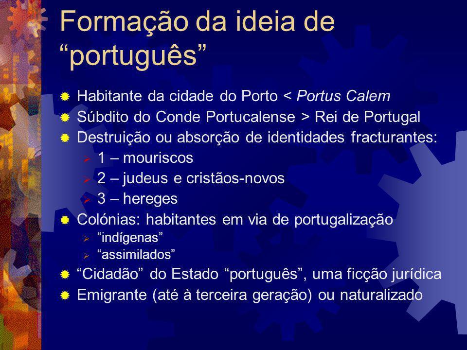 A génese do português Ao longo de imigrações e emigrações várias certas populações de várias origens raciais, vivendo em 4 continentes em épocas distintas, falando línguas diferentes e professando religiões diversas consideraram-se portuguesas, por utilidade ou por necessidade identitária