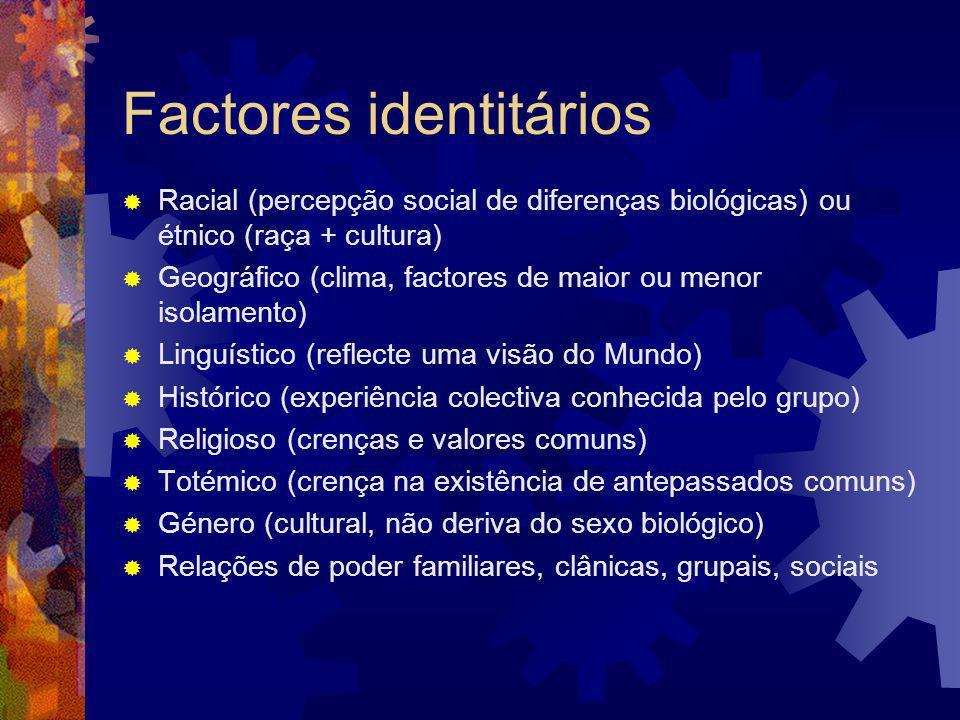 Traços culturais dos grupos Artefactos: objectos e seus usos, vestuário distintivo, etc.