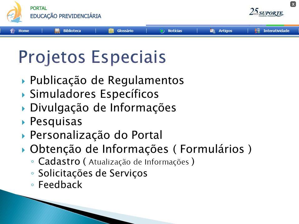 Publicação de Regulamentos Simuladores Específicos Divulgação de Informações Pesquisas Personalização do Portal Obtenção de Informações ( Formulários