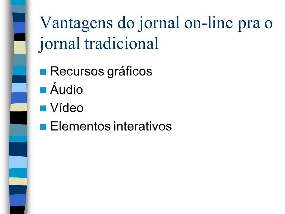Vantagens do jornal on-line pra o jornal tradicional Recursos gráficos Áudio Vídeo Elementos interativos