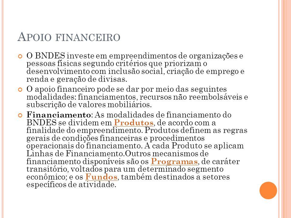 A POIO FINANCEIRO O BNDES investe em empreendimentos de organizações e pessoas físicas segundo critérios que priorizam o desenvolvimento com inclusão social, criação de emprego e renda e geração de divisas.