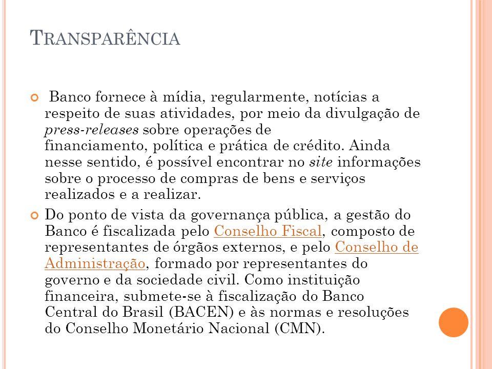 T RANSPARÊNCIA Banco fornece à mídia, regularmente, notícias a respeito de suas atividades, por meio da divulgação de press-releases sobre operações de financiamento, política e prática de crédito.