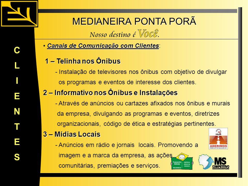 MEDIANEIRA PONTA PORÃ CLIENTES Canais de Comunicação com Clientes Canais de Comunicação com Clientes: 1 – Telinha nos Ônibus 1 – Telinha nos Ônibus -