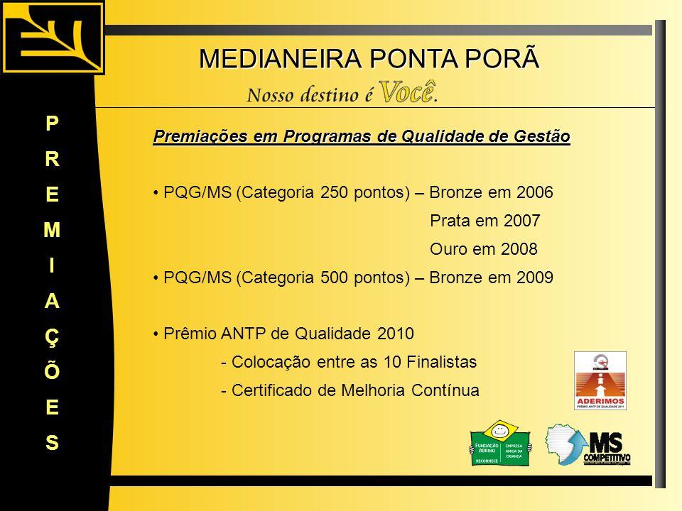 MEDIANEIRA PONTA PORÃ Premiações em Programas de Qualidade de Gestão PQG/MS (Categoria 250 pontos) – Bronze em 2006 Prata em 2007 Ouro em 2008 PQG/MS