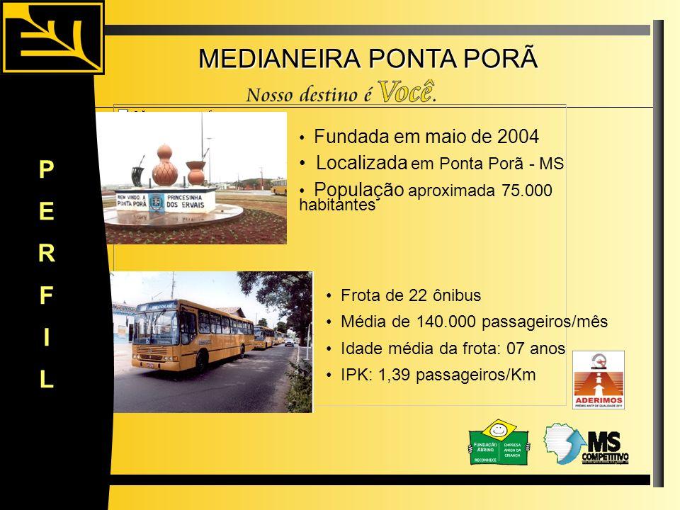Localizada em Ponta Porã - MS População aproximada 75.000 habitantes Fundada em maio de 2004 Média de 140.000 passageiros/mês Frota de 22 ônibus PERFI