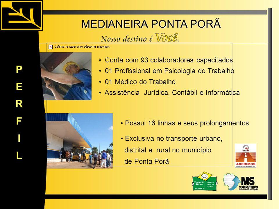 MEDIANEIRA PONTA PORÃ Conta com 93 colaboradores capacitados Possui 16 linhas e seus prolongamentos PERFIL 01 Profissional em Psicologia do Trabalho 0