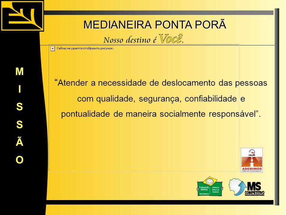 MEDIANEIRA PONTA PORÃ Atender a necessidade de deslocamento das pessoas com qualidade, segurança, confiabilidade e pontualidade de maneira socialmente
