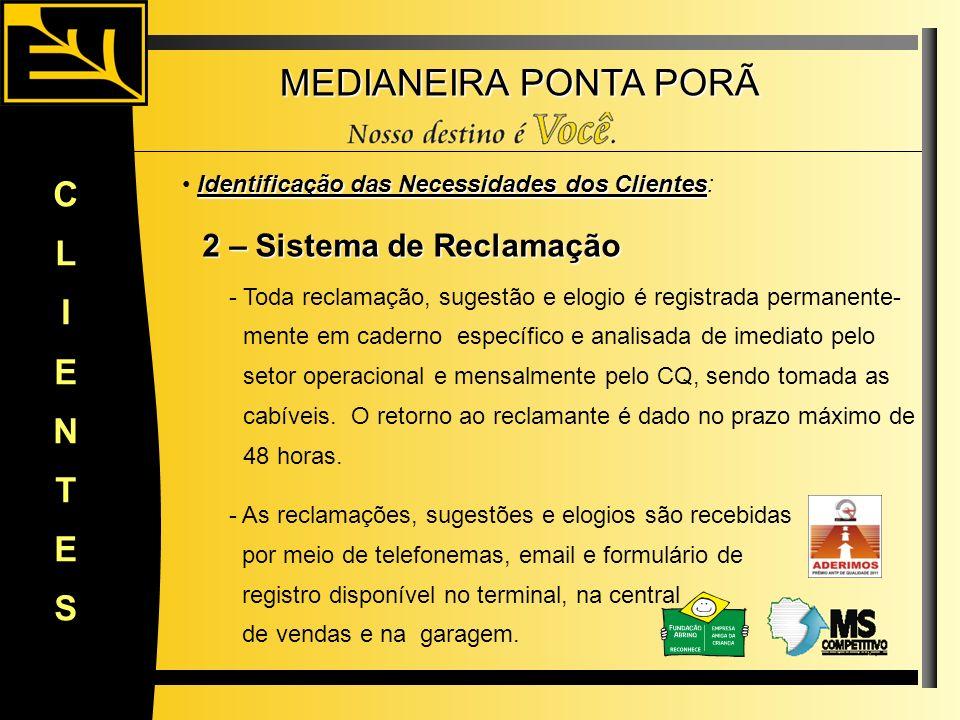 MEDIANEIRA PONTA PORÃ CLIENTES Identificação das Necessidades dos Clientes Identificação das Necessidades dos Clientes: 2 – Sistema de Reclamação 2 –