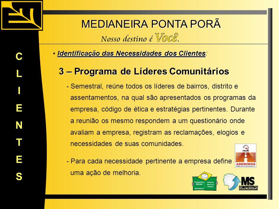 MEDIANEIRA PONTA PORÃ CLIENTES Identificação das Necessidades dos Clientes Identificação das Necessidades dos Clientes: 3 – Programa de Líderes Comuni