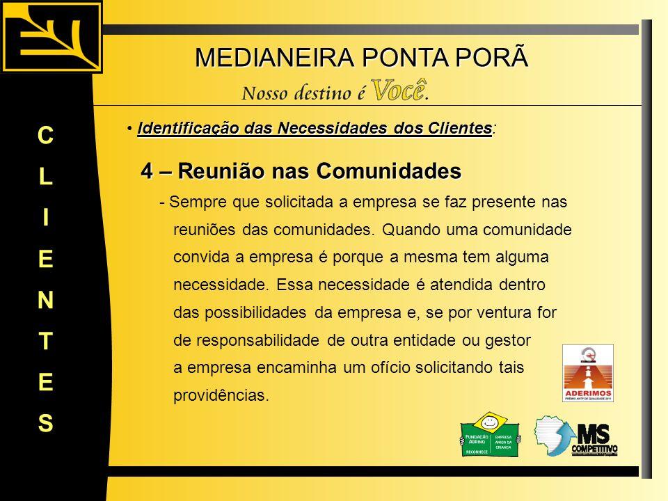 MEDIANEIRA PONTA PORÃ CLIENTES Identificação das Necessidades dos Clientes Identificação das Necessidades dos Clientes: 4 – Reunião nas Comunidades 4
