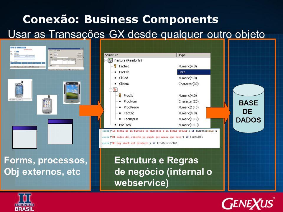 Conexão: Business Components BASE DE DADOS Estrutura e Regras de negócio (internal o webservice) Forms, processos, Obj externos, etc Usar as Transações GX desde qualquer outro objeto