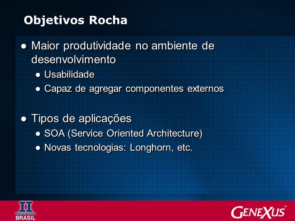 Objetivos Rocha Maior produtividade no ambiente de desenvolvimento Usabilidade Capaz de agregar componentes externos Tipos de aplicações SOA (Service Oriented Architecture) Novas tecnologias: Longhorn, etc.