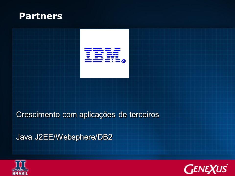 Partners Crescimento com aplicações de terceiros Java J2EE/Websphere/DB2 Crescimento com aplicações de terceiros Java J2EE/Websphere/DB2